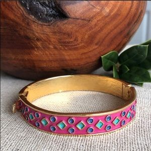 Corocraft Vtg Geometric Enamel Clamper Bracelet